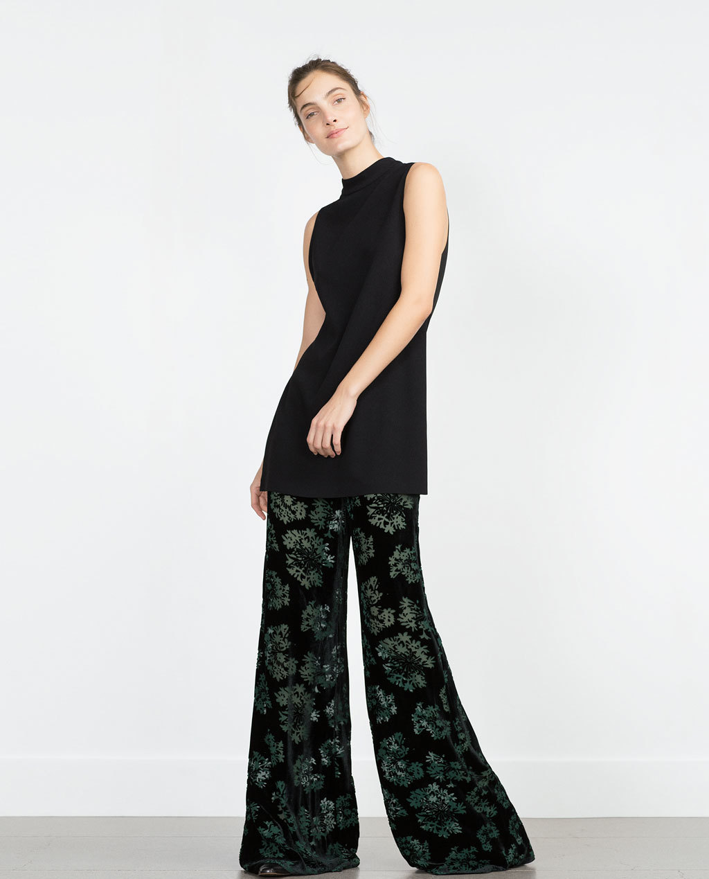 Velvet Trousers - length: standard; waist: mid/regular rise; predominant colour: black; occasions: casual, creative work; fit: wide leg; pattern type: fabric; pattern: florals; texture group: velvet/fabrics with pile; style: standard; pattern size: standard (bottom); season: a/w 2015; wardrobe: highlight