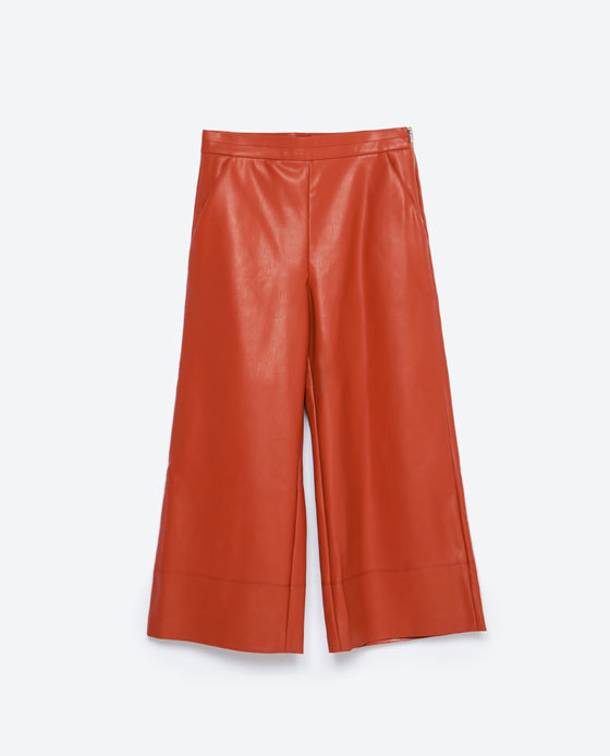 Faux Leather Trousers - pattern: plain; pocket detail: pockets at the sides; waist: mid/regular rise; predominant colour: true red; occasions: casual, evening, creative work; texture group: leather; pattern type: fabric; fibres: pvc/polyurethene - 100%; season: a/w 2015; style: culotte; length: below the knee; fit: a-line; wardrobe: highlight