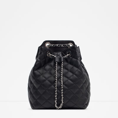 Chain Backpack - predominant colour: black; occasions: casual, creative work; type of pattern: standard; style: rucksack; length: rucksack; size: standard; material: faux leather; pattern: plain; finish: plain; embellishment: chain/metal; season: a/w 2015; wardrobe: highlight