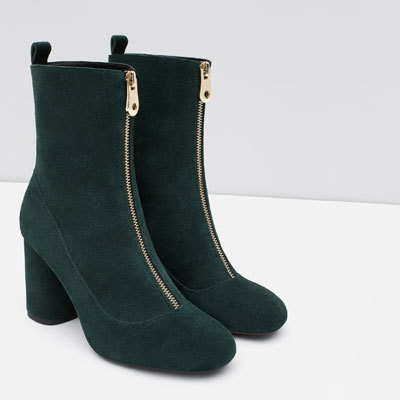 Retro High Heel Booties With Zip - predominant colour: dark green; occasions: casual, creative work; material: leather; heel height: high; heel: block; toe: round toe; boot length: mid calf; style: standard; finish: plain; pattern: plain; season: a/w 2015