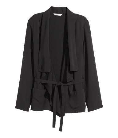 Draped Jacket - pattern: plain; style: single breasted blazer; collar: shawl/waterfall; fit: loose; predominant colour: black; occasions: casual, evening, creative work; length: standard; fibres: polyester/polyamide - 100%; waist detail: belted waist/tie at waist/drawstring; sleeve length: long sleeve; sleeve style: standard; collar break: low/open; pattern type: fabric; texture group: woven light midweight; season: a/w 2015; wardrobe: basic