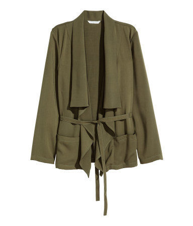 Draped Jacket - pattern: plain; style: single breasted blazer; collar: shawl/waterfall; length: below the bottom; predominant colour: khaki; occasions: casual, evening, creative work; fit: straight cut (boxy); fibres: polyester/polyamide - 100%; waist detail: belted waist/tie at waist/drawstring; sleeve length: long sleeve; sleeve style: standard; texture group: crepes; collar break: low/open; pattern type: fabric; season: a/w 2015; wardrobe: basic