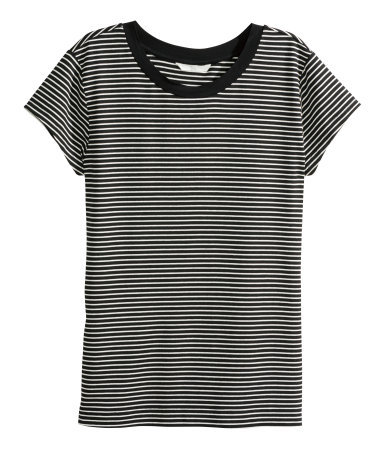 Jersey Top - pattern: horizontal stripes; secondary colour: white; predominant colour: black; occasions: casual, creative work; length: standard; style: top; fibres: cotton - stretch; fit: body skimming; neckline: crew; sleeve length: short sleeve; sleeve style: standard; pattern type: fabric; pattern size: standard; texture group: jersey - stretchy/drapey; season: a/w 2015; wardrobe: basic