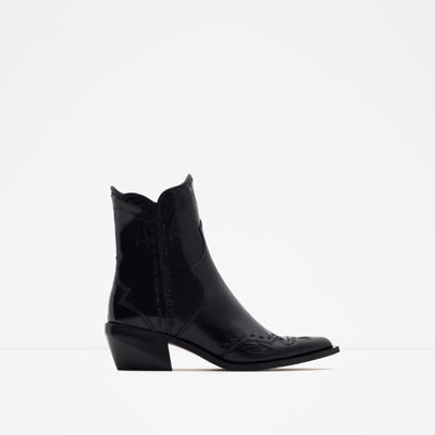 Flat Leather Cowboy Ankle Boots - predominant colour: black; occasions: casual, creative work; material: leather; heel height: mid; heel: cone; toe: pointed toe; boot length: mid calf; style: standard; finish: plain; pattern: plain; season: a/w 2015; wardrobe: basic