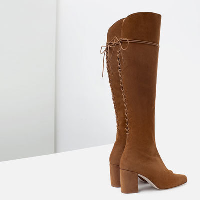 High Heel Leather Boots With Laces - style: standard; finish: plain; pattern: plain; season: a/w 2015; wardrobe: highlight
