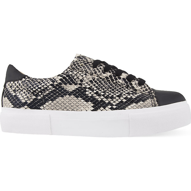 Loco Snake Print Trainers, Women's, Eur 37 / 4 Uk Women, Beige Comb - predominant colour: mid grey; secondary colour: mid grey; occasions: casual; material: faux leather; heel height: flat; toe: round toe; style: trainers; finish: plain; pattern: animal print; shoe detail: moulded soul; season: a/w 2015