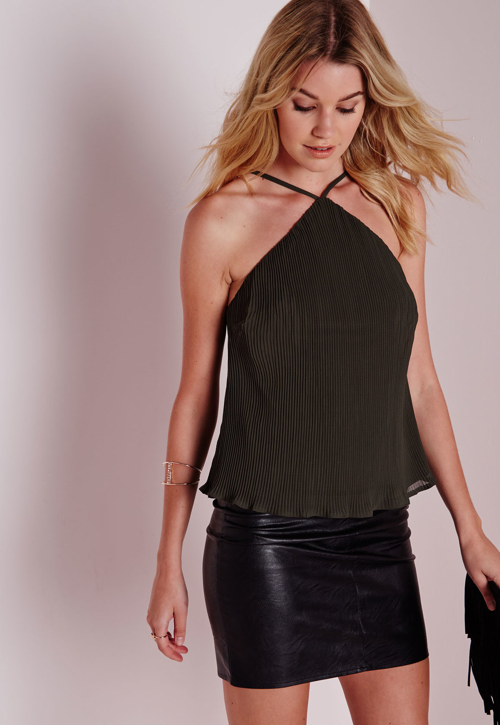 Strappy Pleated Cami Khaki, Beige - pattern: plain; sleeve style: sleeveless; style: camisole; neckline: low halter neck; predominant colour: khaki; occasions: evening; length: standard; fibres: polyester/polyamide - 100%; fit: straight cut; sleeve length: sleeveless; texture group: sheer fabrics/chiffon/organza etc.; bust detail: tiers/frills/bulky drapes/pleats; pattern type: fabric; season: a/w 2015; wardrobe: event