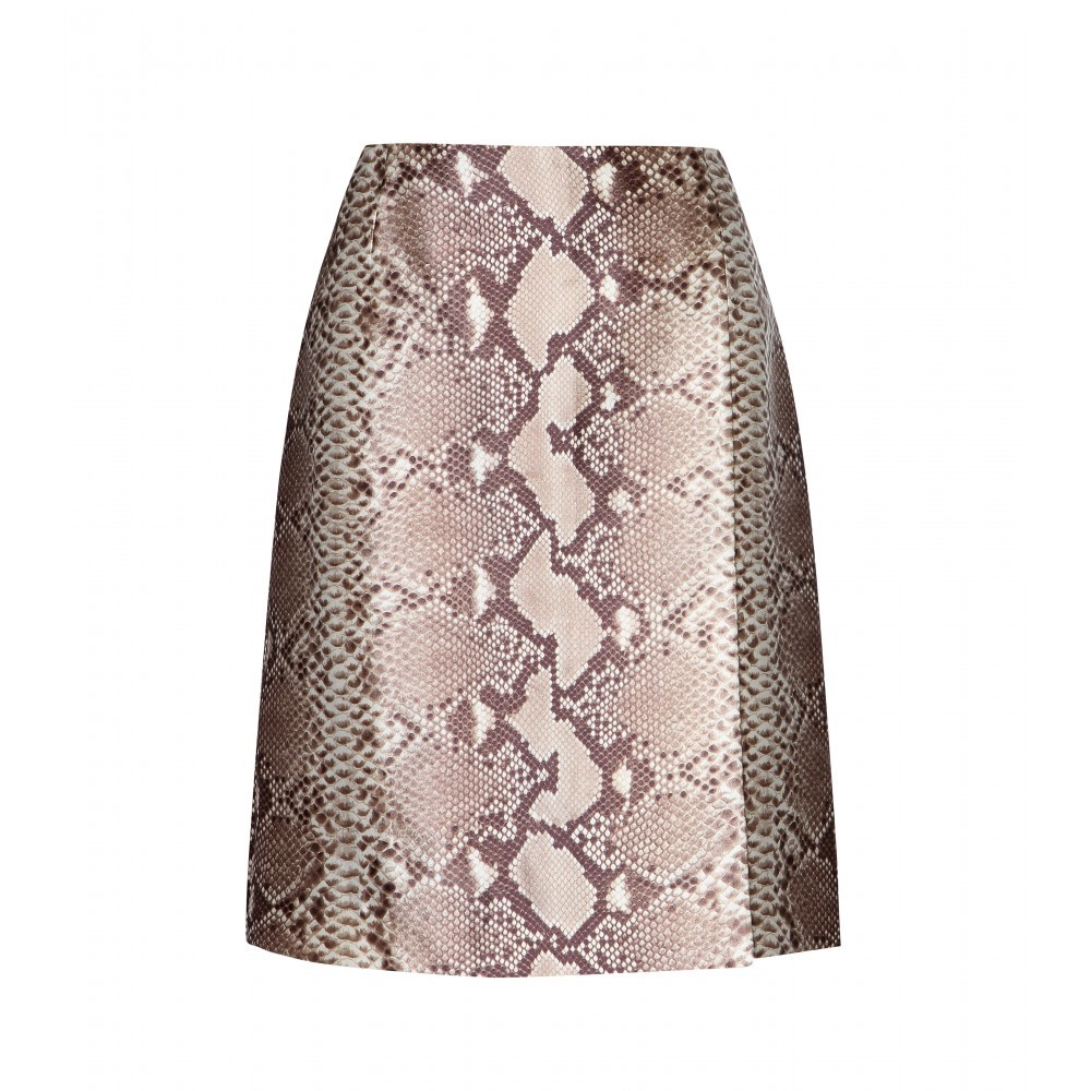 Printed Silk Skirt - fit: loose/voluminous; waist: mid/regular rise; secondary colour: taupe; predominant colour: stone; occasions: evening, occasion, creative work; length: just above the knee; style: a-line; fibres: silk - 100%; texture group: silky - light; pattern type: fabric; pattern: animal print; pattern size: standard (bottom); multicoloured: multicoloured; season: a/w 2015; wardrobe: highlight