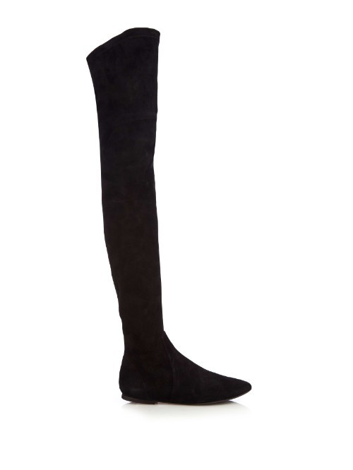 Étoile Brenna Stretch Suede Knee Boots - predominant colour: black; occasions: casual, creative work; material: suede; heel height: flat; heel: standard; toe: round toe; boot length: over the knee; style: standard; finish: plain; pattern: plain; season: a/w 2015; trends: over the knee boots