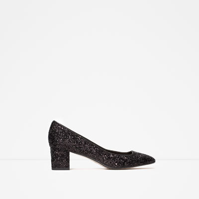Mid Heel Glitter Shoes - predominant colour: black; occasions: evening, occasion; material: fabric; heel height: mid; embellishment: glitter; heel: block; toe: square toe; style: courts; finish: metallic; pattern: plain; season: a/w 2015; wardrobe: event