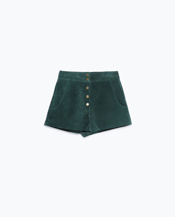 Suede Shorts - pattern: plain; waist: mid/regular rise; predominant colour: dark green; occasions: casual, evening, creative work; fibres: leather - 100%; pattern type: fabric; texture group: suede; season: a/w 2015; style: shorts; length: short shorts; fit: slim leg