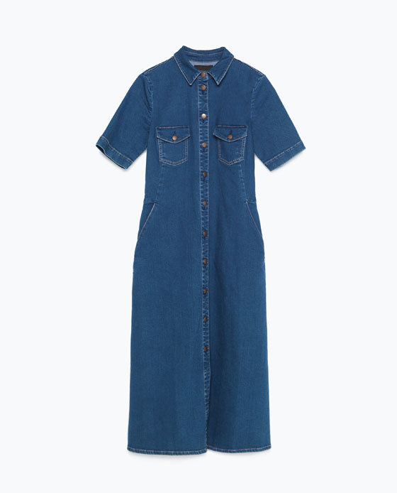 Denim Dress - style: shirt; length: below the knee; neckline: shirt collar/peter pan/zip with opening; pattern: plain; predominant colour: navy; occasions: casual; fit: soft a-line; fibres: cotton - stretch; sleeve length: short sleeve; sleeve style: standard; texture group: denim; bust detail: bulky details at bust; pattern type: fabric; season: a/w 2015; wardrobe: basic