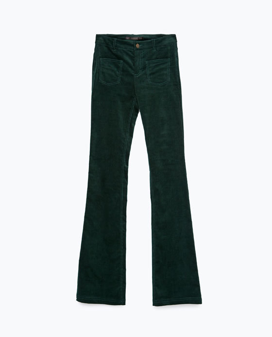 Bell Bottom Trousers - length: standard; pattern: plain; pocket detail: large back pockets, pockets at the sides; waist: mid/regular rise; predominant colour: dark green; occasions: casual, creative work; fibres: cotton - stretch; texture group: corduroy; fit: flares; pattern type: fabric; style: standard; season: a/w 2015; wardrobe: highlight