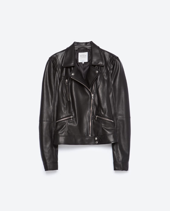 Biker Jacket - pattern: plain; style: biker; collar: asymmetric biker; predominant colour: black; occasions: casual, evening; length: standard; fit: tailored/fitted; fibres: polyester/polyamide - 100%; sleeve length: long sleeve; sleeve style: standard; texture group: leather; collar break: high/illusion of break when open; pattern type: fabric; season: a/w 2015; wardrobe: basic