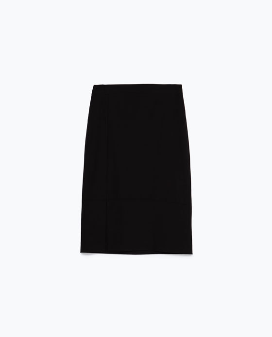 Wool Skirt - pattern: plain; style: straight; fit: tailored/fitted; waist: mid/regular rise; predominant colour: black; occasions: evening, creative work; length: on the knee; fibres: polyester/polyamide - stretch; pattern type: fabric; texture group: other - light to midweight; season: a/w 2015; wardrobe: basic