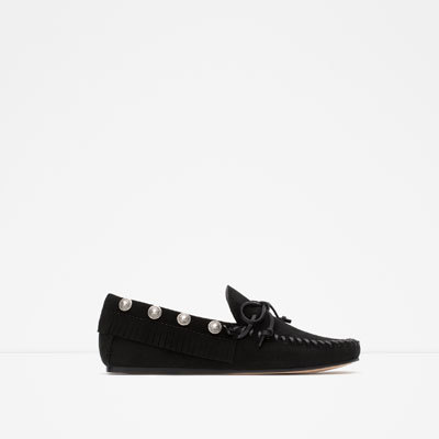 Studded Leather Loafers - predominant colour: black; occasions: casual; material: leather; heel height: flat; embellishment: studs; toe: round toe; style: loafers; finish: plain; pattern: plain; season: a/w 2015; wardrobe: basic
