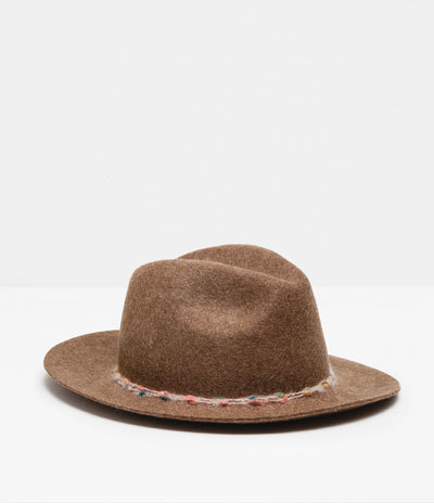 Wool Hat With Colour Band Detail - predominant colour: tan; occasions: casual; type of pattern: standard; style: trilby; size: standard; material: fabric; pattern: plain; season: a/w 2015; wardrobe: highlight
