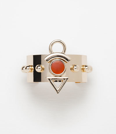 Adjustable Armband Bracelet With Geometric Piece - predominant colour: bright orange; secondary colour: gold; occasions: casual, evening, creative work; style: bangle/standard; size: standard; material: chain/metal; finish: metallic; embellishment: jewels/stone; season: a/w 2015; wardrobe: highlight