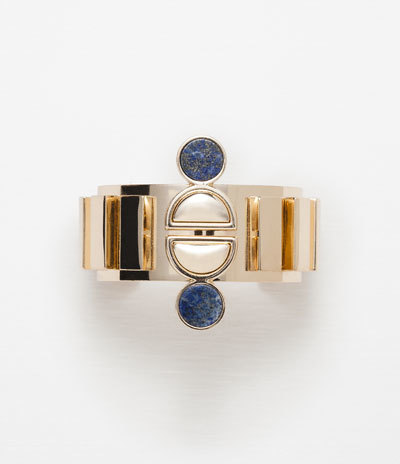 Adjustable Armband Bracelet With Metallic Stone Detail - predominant colour: denim; secondary colour: gold; occasions: casual, evening, occasion; style: bangle/standard; size: standard; material: chain/metal; finish: metallic; embellishment: jewels/stone; season: a/w 2015