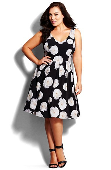 'photo Floral' Fit & Flare Dress (Plus Size) - neckline: low v-neck; sleeve style: sleeveless; predominant colour: light grey; secondary colour: black; occasions: evening, occasion; length: on the knee; fit: fitted at waist & bust; style: fit & flare; fibres: polyester/polyamide - stretch; sleeve length: sleeveless; pattern type: fabric; pattern size: big & busy; pattern: florals; texture group: jersey - stretchy/drapey; season: a/w 2015; wardrobe: event