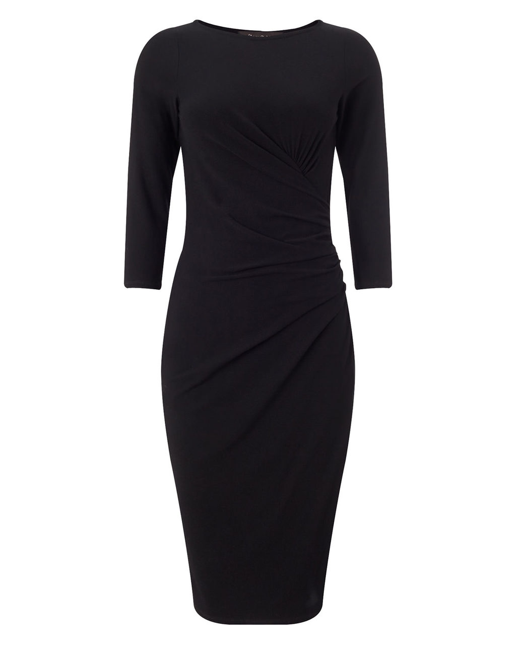 Cindy Crepe Dress - style: shift; neckline: slash/boat neckline; pattern: plain; waist detail: flattering waist detail; predominant colour: navy; length: on the knee; fit: body skimming; sleeve length: 3/4 length; sleeve style: standard; texture group: crepes; season: a/w 2015; wardrobe: investment