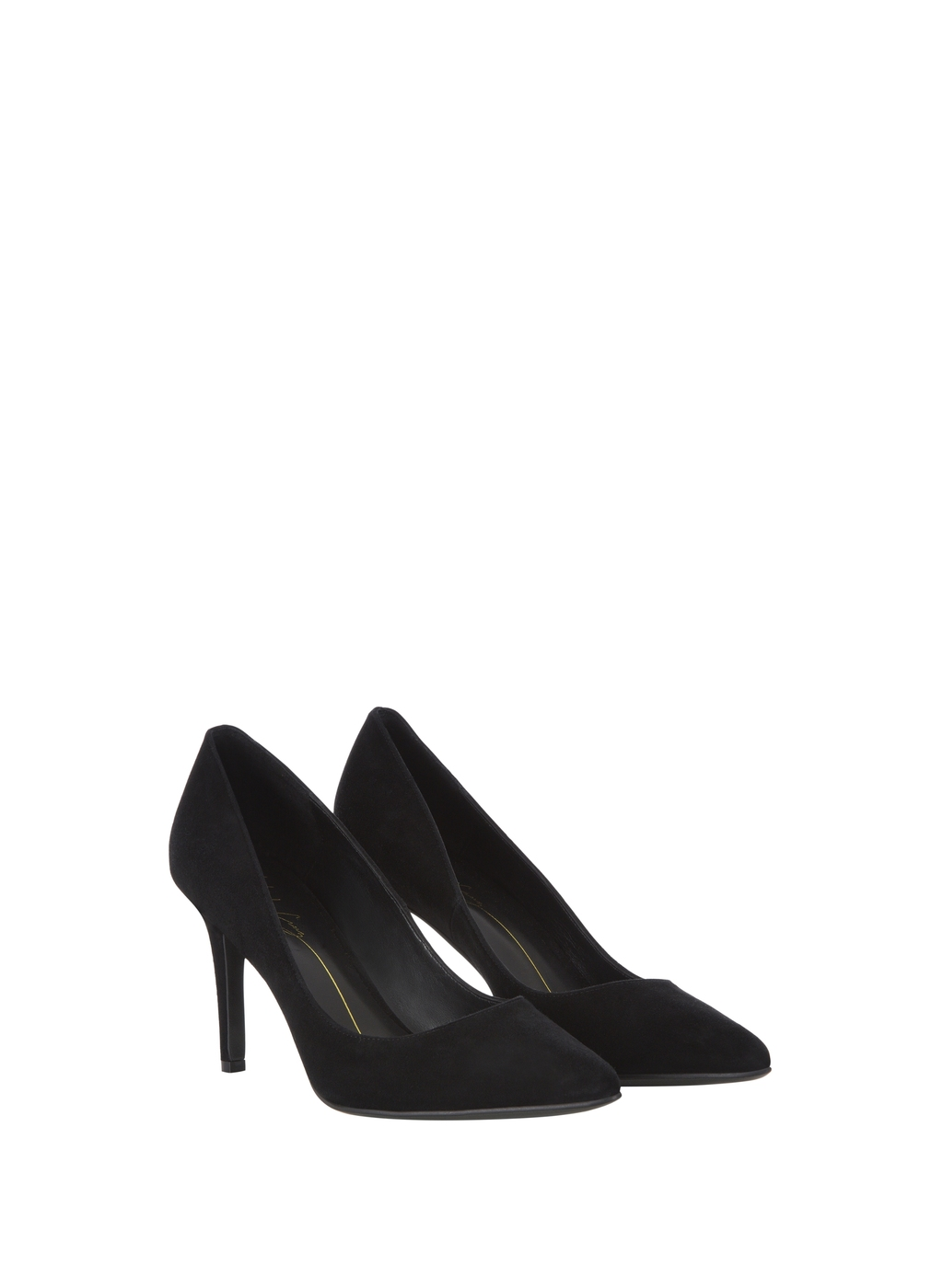 Womenswear Lola Cruz Suede Court - predominant colour: black; occasions: evening, work, occasion; material: suede; heel height: high; heel: block; toe: pointed toe; style: courts; finish: plain; pattern: plain; season: a/w 2015; wardrobe: investment