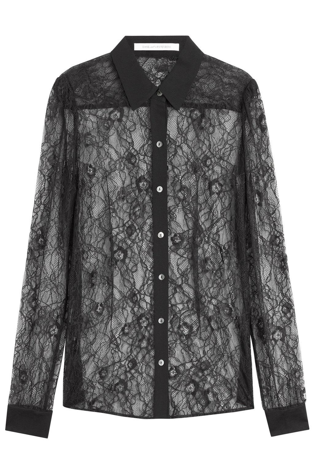 Lace Blouse Black - neckline: shirt collar/peter pan/zip with opening; length: below the bottom; style: shirt; predominant colour: black; fit: straight cut; sleeve length: long sleeve; sleeve style: standard; texture group: lace; pattern size: standard; pattern: patterned/print; season: a/w 2015; trends: romantic goth