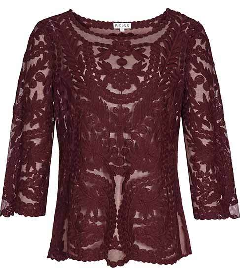 Alden Sheer Lace Top - pattern: plain; predominant colour: burgundy; occasions: evening; length: standard; style: top; fibres: polyester/polyamide - 100%; fit: body skimming; neckline: crew; sleeve length: 3/4 length; sleeve style: standard; texture group: lace; pattern type: fabric; pattern size: standard; season: a/w 2015; wardrobe: event