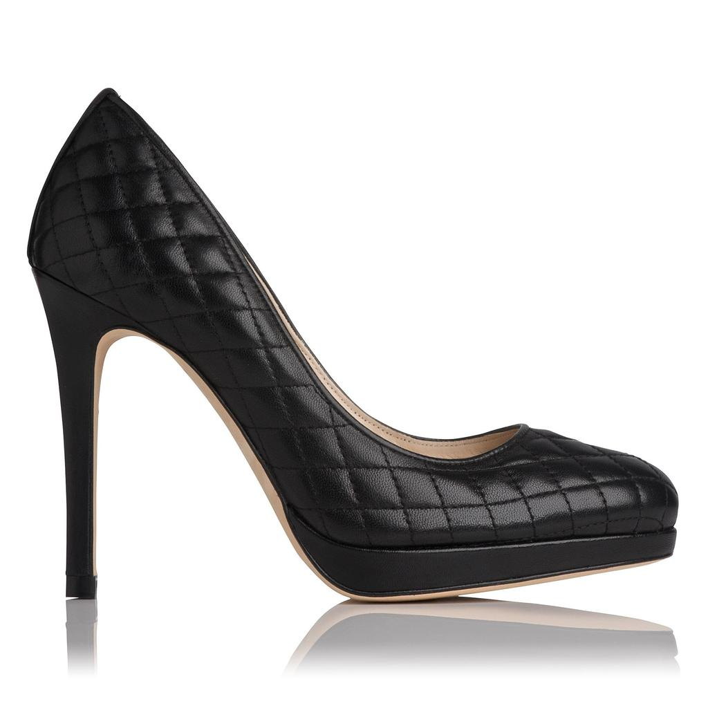 Sledge Quilted Leather Court - predominant colour: black; occasions: evening, occasion; material: leather; embellishment: quilted; heel: stiletto; toe: round toe; style: courts; finish: plain; pattern: plain; heel height: very high; season: a/w 2015; wardrobe: event