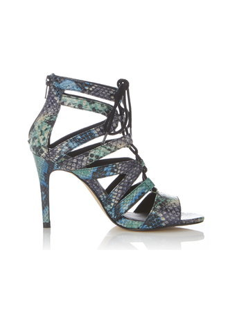 Womens Shelby Ghillie Tie Sandal, Assorted - secondary colour: royal blue; predominant colour: turquoise; occasions: evening; material: faux leather; heel height: high; ankle detail: ankle strap; heel: stiletto; toe: open toe/peeptoe; style: strappy; finish: plain; pattern: animal print; multicoloured: multicoloured; season: a/w 2015
