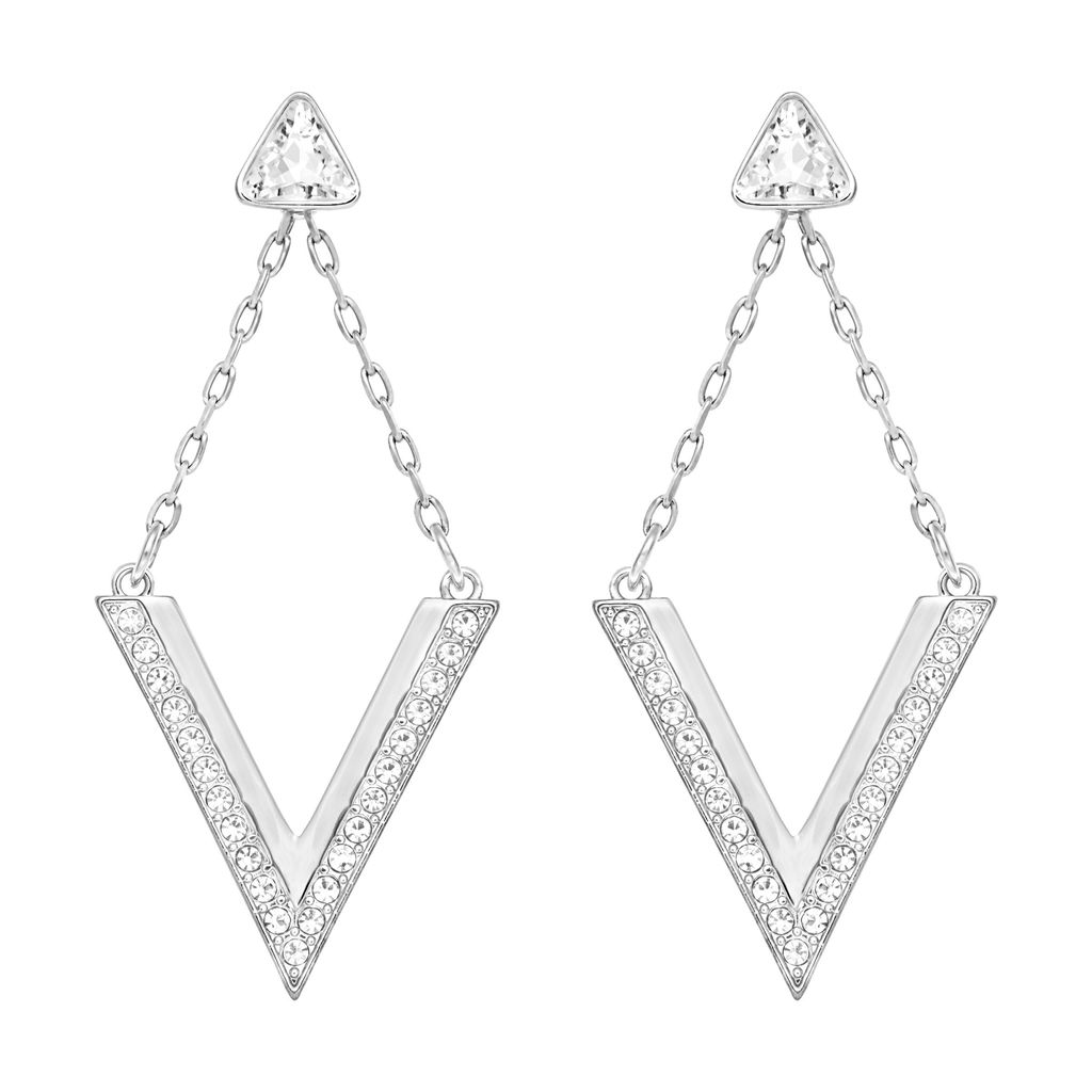 Delta Pierced Earrings, Silver - predominant colour: silver; occasions: evening, occasion; style: drop; length: long; size: large/oversized; material: chain/metal; fastening: pierced; finish: metallic; embellishment: crystals/glass; season: a/w 2015; wardrobe: event