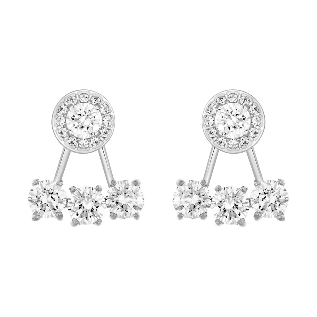 Attract Earrings, Silver - predominant colour: silver; occasions: evening, occasion; style: drop; length: mid; size: standard; material: chain/metal; fastening: pierced; finish: metallic; embellishment: crystals/glass; season: a/w 2015; wardrobe: event