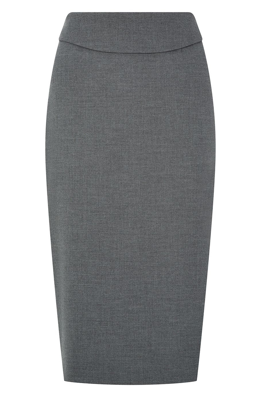 Daxton Skirt, Grey - pattern: plain; style: pencil; fit: tailored/fitted; waist: high rise; predominant colour: charcoal; occasions: work, creative work; length: on the knee; fibres: viscose/rayon - stretch; pattern type: fabric; texture group: woven light midweight; season: a/w 2015; wardrobe: basic