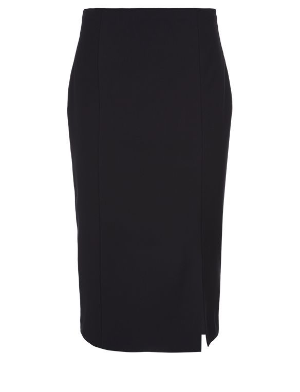 Juniper Skirt, Black - pattern: plain; style: pencil; fit: tailored/fitted; waist: high rise; predominant colour: black; occasions: evening, work, creative work; length: on the knee; fibres: wool - mix; hip detail: slits at hip; pattern type: fabric; texture group: woven light midweight; season: a/w 2015; wardrobe: basic