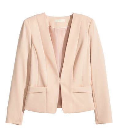 Figure Fit Jacket - pattern: plain; style: single breasted blazer; collar: round collar/collarless; predominant colour: blush; occasions: casual, evening, occasion, creative work; length: standard; fit: tailored/fitted; fibres: polyester/polyamide - 100%; sleeve length: long sleeve; sleeve style: standard; collar break: medium; pattern type: fabric; texture group: woven light midweight; season: a/w 2015; wardrobe: basic