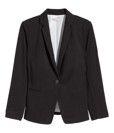 + Figure Fit Jacket - pattern: plain; style: single breasted blazer; collar: standard lapel/rever collar; predominant colour: black; occasions: evening, work, creative work; length: standard; fit: tailored/fitted; sleeve length: long sleeve; sleeve style: standard; collar break: medium; pattern type: fabric; texture group: woven light midweight; fibres: pvc/polyurethene - 100%; season: a/w 2015; wardrobe: investment