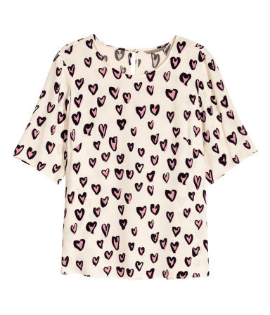 + Patterned Blouse - neckline: round neck; style: t-shirt; predominant colour: ivory/cream; secondary colour: pink; occasions: casual, creative work; length: standard; fibres: viscose/rayon - 100%; fit: straight cut; sleeve length: half sleeve; sleeve style: standard; pattern type: fabric; pattern size: standard; pattern: patterned/print; texture group: woven light midweight; season: a/w 2015; wardrobe: highlight