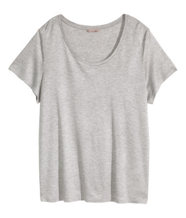 + Jersey Top - pattern: plain; style: t-shirt; predominant colour: light grey; occasions: casual; length: standard; neckline: scoop; fibres: viscose/rayon - 100%; fit: loose; sleeve length: short sleeve; sleeve style: standard; pattern type: fabric; pattern size: standard; texture group: jersey - stretchy/drapey; season: a/w 2015; wardrobe: basic
