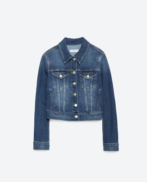 Denim Jacket - pattern: plain; style: denim; predominant colour: denim; occasions: casual, creative work; length: standard; fit: straight cut (boxy); fibres: cotton - 100%; collar: shirt collar/peter pan/zip with opening; sleeve length: long sleeve; sleeve style: standard; texture group: denim; collar break: high/illusion of break when open; pattern type: fabric; season: a/w 2015