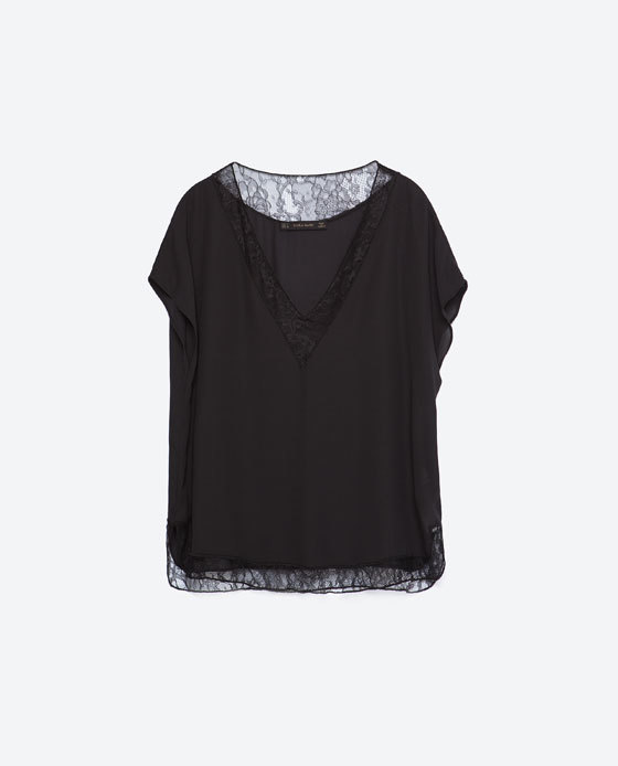 Camisole Top - neckline: low v-neck; sleeve style: angel/waterfall; pattern: plain; predominant colour: black; occasions: casual, evening, work, creative work; length: standard; style: top; fibres: polyester/polyamide - 100%; fit: loose; sleeve length: short sleeve; pattern type: fabric; texture group: other - light to midweight; embellishment: lace; season: a/w 2015; trends: romantic goth