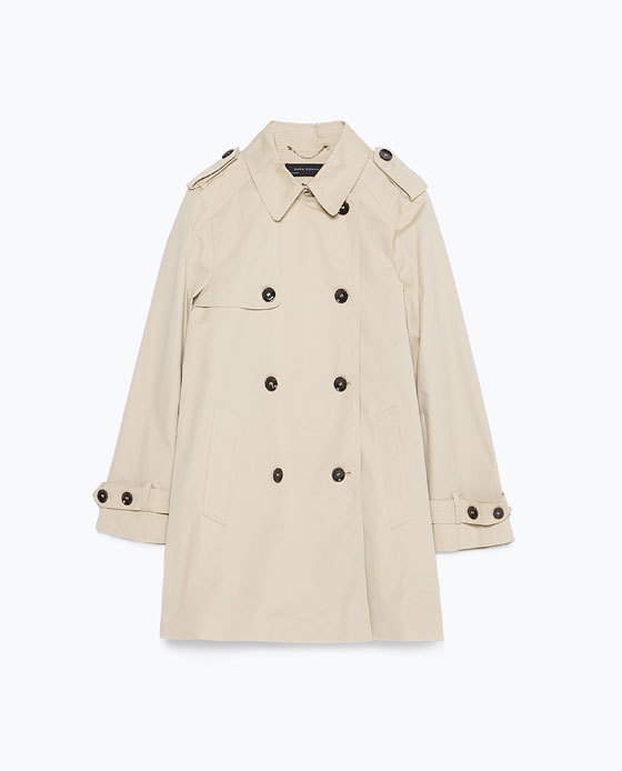 Short Trench Coat - pattern: plain; length: below the bottom; style: trench coat; predominant colour: stone; occasions: casual, creative work; fit: straight cut (boxy); fibres: cotton - 100%; collar: shirt collar/peter pan/zip with opening; sleeve length: long sleeve; sleeve style: standard; texture group: cotton feel fabrics; collar break: high; pattern type: fabric; season: a/w 2015; wardrobe: basic