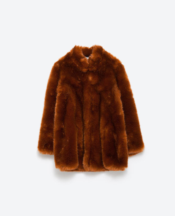 Fur Coat - pattern: plain; length: standard; collar: high neck; predominant colour: tan; occasions: casual, evening, creative work; fit: straight cut (boxy); fibres: acrylic - mix; style: fur coat; sleeve length: 3/4 length; sleeve style: standard; texture group: fur; collar break: high; pattern type: fabric; season: a/w 2015; wardrobe: highlight