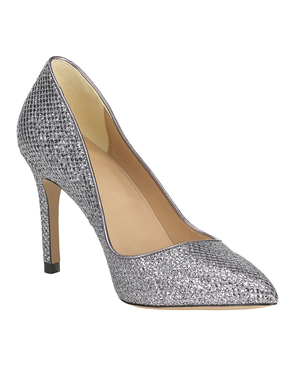 Lucie Glitter Point Heel - predominant colour: silver; occasions: evening, occasion; material: faux leather; heel height: high; embellishment: glitter; heel: stiletto; toe: pointed toe; style: courts; finish: metallic; pattern: plain; season: a/w 2015