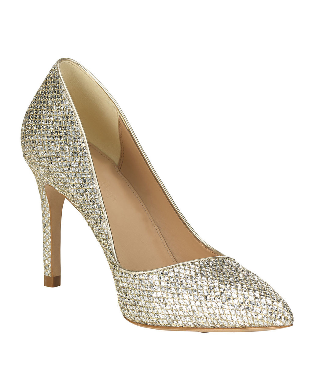 Lucie Glitter Point Heel - predominant colour: silver; occasions: evening, occasion; material: faux leather; heel height: high; embellishment: glitter; heel: stiletto; toe: pointed toe; style: courts; finish: metallic; pattern: plain; season: a/w 2015; wardrobe: event