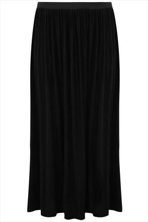 Black Maxi Skirt With Elasticated Waistband - pattern: plain; length: ankle length; fit: loose/voluminous; waist: high rise; predominant colour: black; occasions: casual, work; style: maxi skirt; fibres: viscose/rayon - stretch; hip detail: soft pleats at hip/draping at hip/flared at hip; pattern type: fabric; texture group: jersey - stretchy/drapey; season: a/w 2015; wardrobe: basic