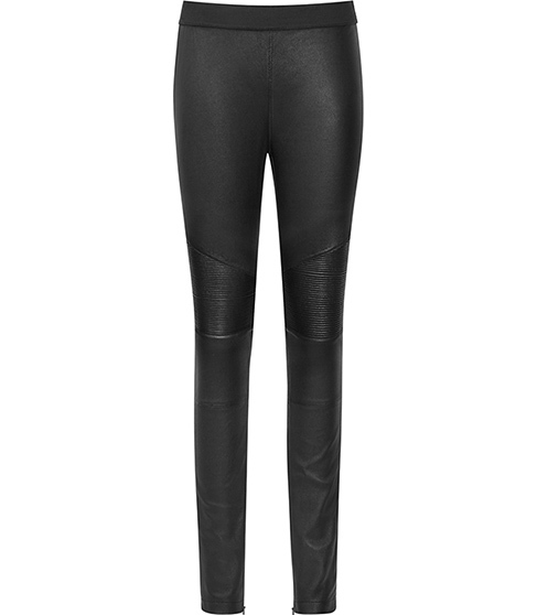 Felice Leather Biker Leggings - length: standard; pattern: plain; style: leggings; waist: mid/regular rise; predominant colour: black; occasions: evening; fibres: leather - 100%; texture group: leather; fit: skinny/tight leg; pattern type: fabric; season: a/w 2015; wardrobe: event