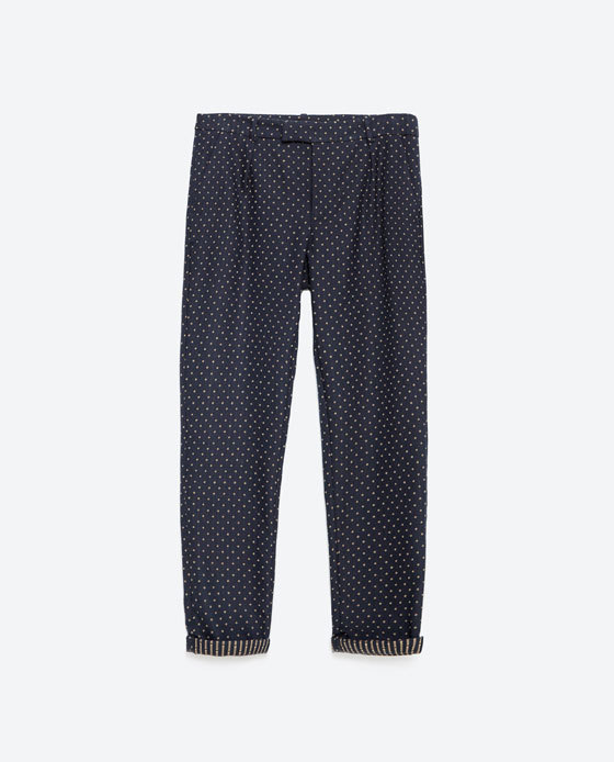 Jacquard Trousers - pocket detail: small back pockets, pockets at the sides; pattern: polka dot; waist: mid/regular rise; secondary colour: white; predominant colour: navy; occasions: casual, creative work; length: ankle length; fibres: polyester/polyamide - mix; jeans & bottoms detail: turn ups; fit: straight leg; pattern type: fabric; texture group: woven light midweight; style: standard; pattern size: light/subtle (bottom); season: a/w 2015