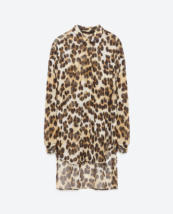 Large Animal Print Blouse - neckline: shirt collar/peter pan/zip with opening; style: blouse; predominant colour: chocolate brown; secondary colour: stone; occasions: casual, creative work; fibres: polyester/polyamide - 100%; fit: loose; length: mid thigh; sleeve length: long sleeve; sleeve style: standard; texture group: sheer fabrics/chiffon/organza etc.; pattern type: fabric; pattern size: standard; pattern: animal print; season: a/w 2015