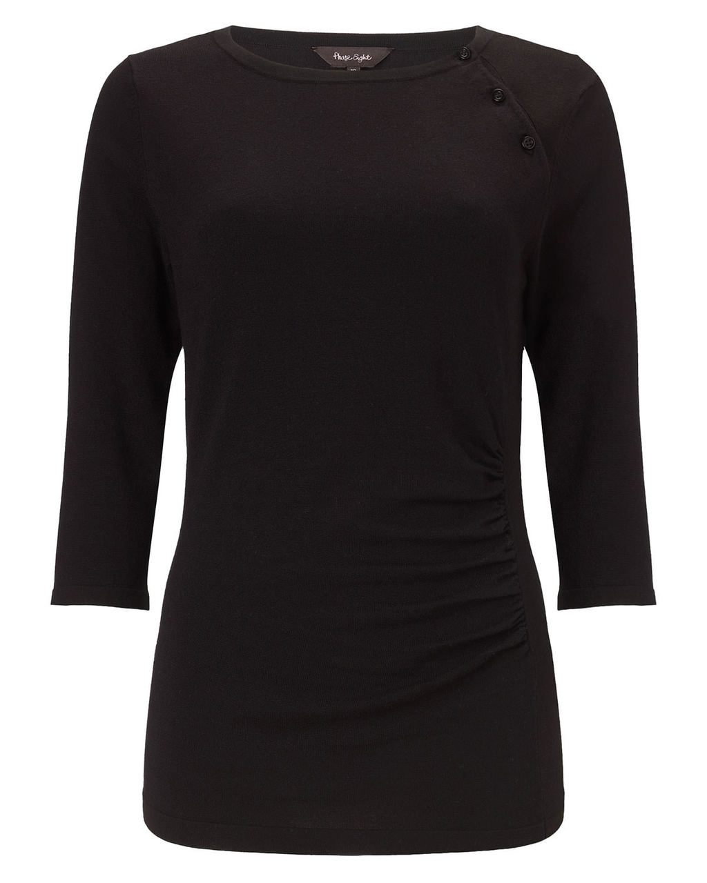 Bianka Button Knit Top - pattern: plain; predominant colour: black; occasions: casual; length: standard; style: top; fit: body skimming; neckline: crew; sleeve length: 3/4 length; sleeve style: standard; pattern type: fabric; texture group: jersey - stretchy/drapey; fibres: viscose/rayon - mix; season: a/w 2015; wardrobe: basic