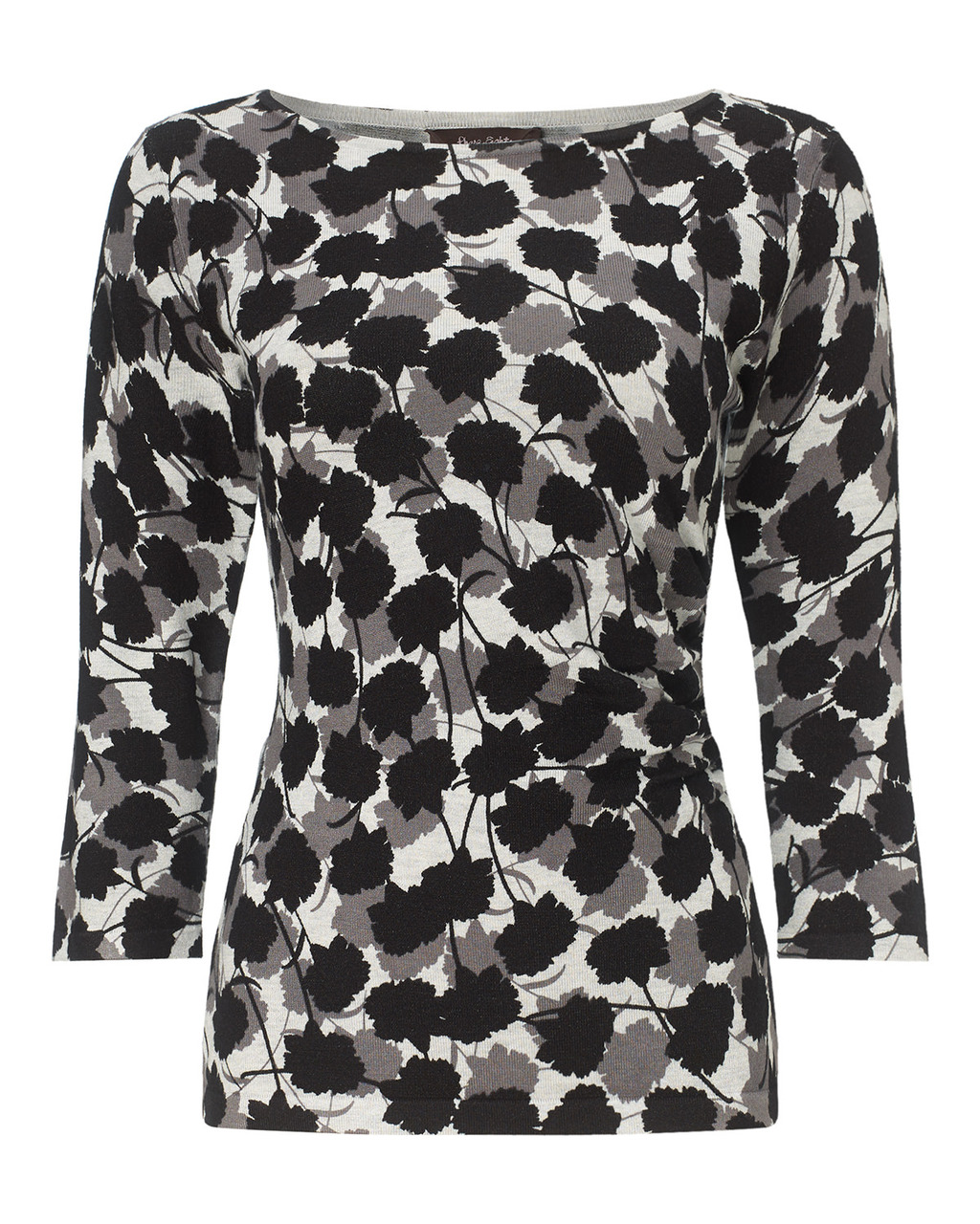 Leilani Print Knit Top - neckline: slash/boat neckline; secondary colour: mid grey; predominant colour: black; occasions: casual; length: standard; style: top; fit: body skimming; sleeve length: 3/4 length; sleeve style: standard; pattern type: fabric; pattern: florals; texture group: jersey - stretchy/drapey; fibres: viscose/rayon - mix; multicoloured: multicoloured; season: a/w 2015; wardrobe: highlight